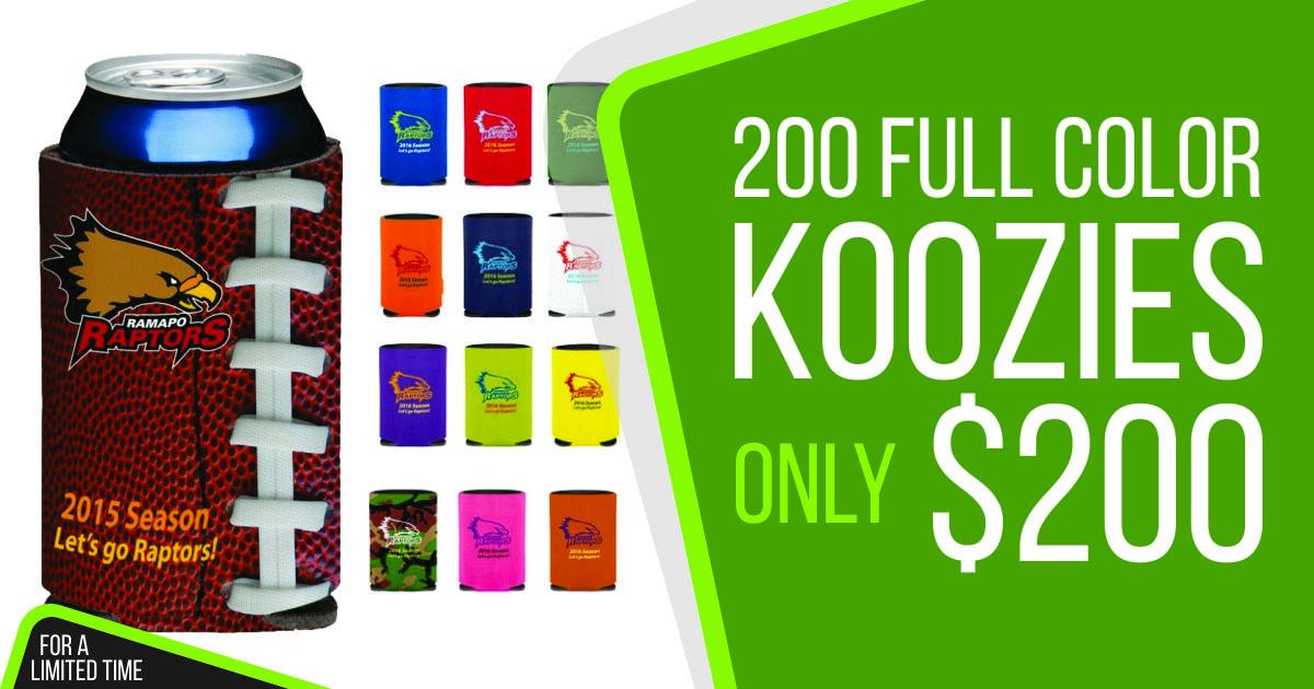 custom koozies color print