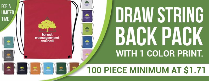 Draw String Back Pack 100 piece minimum at $1.71