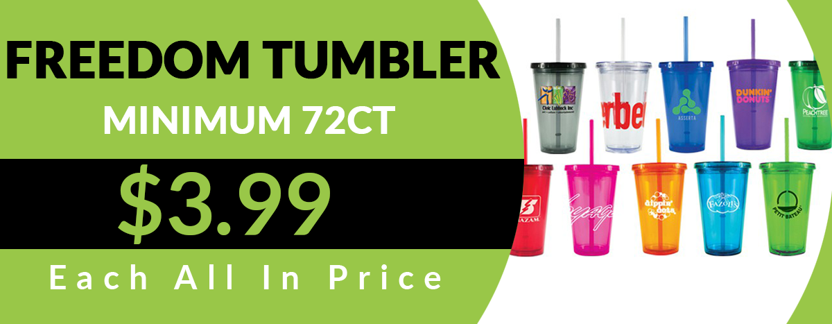 16oz. Freedom Tumbler – Minimum 72ct 3.99 each all in price