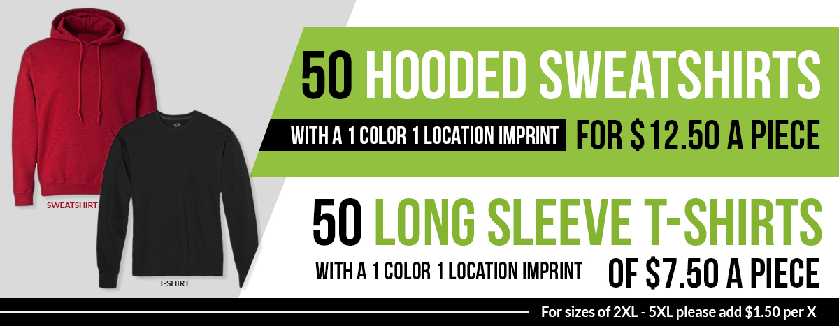 Winter Special Offers on Hooded Sweatshirts & Long Sleeve T-Shirts